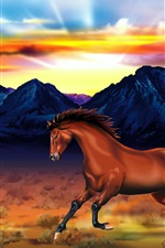 Preview iPhone wallpaper Two horses, mountains, red sky, sunset, art drawing