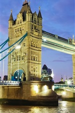 Preview iPhone wallpaper UK, London, Tower Bridge, River Thames, night, lights