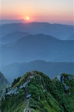 Ukraine, Carpathian mountains, sunset