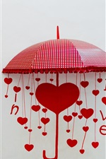 Preview iPhone wallpaper Umbrellas, love hearts, yellow and red