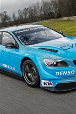 Preview iPhone wallpaper Volvo S60 Polestar blue car speed