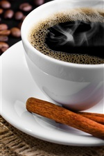 Preview iPhone wallpaper White cup coffee, saucer, cinnamon