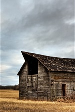 Preview iPhone wallpaper Wood house, grass, field, clouds, nature scenery