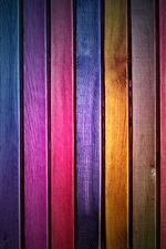Wood slats, rainbow colors