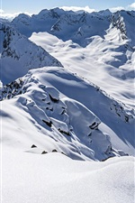 Preview iPhone wallpaper Zischgeles, Stubai Alps, Tyrol, Austria, thick snow, mountains, winter