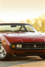 Preview iPhone wallpaper 1972 Ferrari 365 GTC-4 red car front view