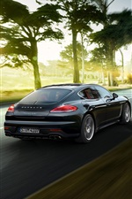 Preview iPhone wallpaper 2015 Porsche Panamera black supercar back view and speed