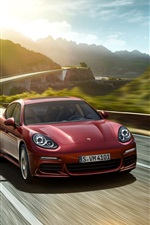 Preview iPhone wallpaper 2015 Porsche Panamera red car speed