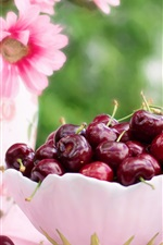 Preview iPhone wallpaper A bowl cherries, pink flowers