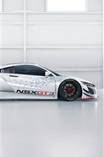 Acura NSX GT3 white supercar side view