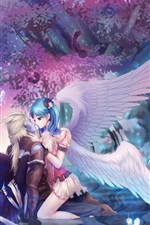 Preview iPhone wallpaper Anime girl and her lover, angel, tree, night
