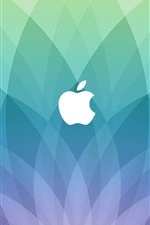 Preview iPhone wallpaper Apple logo, blue sector shaped background