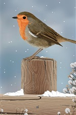 Preview iPhone wallpaper Art drawing, sparrow, bird, winter, snow