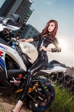 Preview iPhone wallpaper Asian girl and Suzuki GSX-R motorcycle