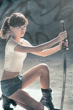 Preview iPhone wallpaper Asian girl, pose, samurai sword