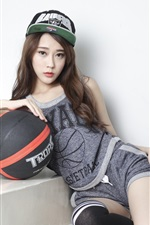 Preview iPhone wallpaper Asian girl, sport, basketball