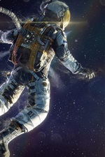 Preview iPhone wallpaper Astronaut floating in space, planets, stars