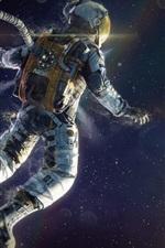 iPhone обои Астронавт, плавающие в пространстве, планеты, звезды