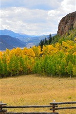 Preview iPhone wallpaper Autumn, sky, mountains, trees, grass, fence