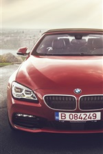 Preview iPhone wallpaper BMW 640i red convertible car front view