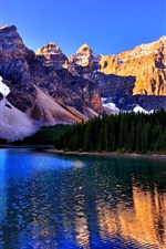 Preview iPhone wallpaper Banff National Park, Canada, Lake Louise, mountains, trees, blue sky