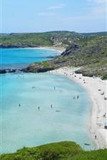 Preview iPhone wallpaper Beach, blue sea, hiking pedestrian, Spain, Menorca