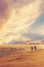 Preview iPhone wallpaper Beach, sea, waves, clouds, summer, surfing, dusk