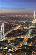 Preview iPhone wallpaper Beautiful Paris city night, lights, houses, Eiffel Tower