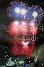 Preview iPhone wallpaper Beautiful city night, fireworks, skyscrapers, lights, Yokohama, Japan