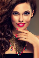 Preview iPhone wallpaper Beautiful model girl, smile, blue eyes, curly hair
