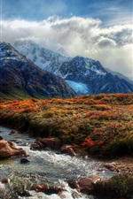 Preview iPhone wallpaper Beautiful nature, mountains, grass, creek, clouds