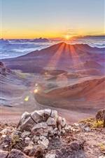 Belo nascer do sol, pico, montanha, rochas, nuvens