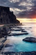 미리보기 iPhone 배경 화면 아름다운 일몰 바다, 해안, 도로, 구름