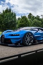 Preview iPhone wallpaper Bugatti Vision Gran Turismo blue hypercar, road, clouds