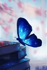 Preview iPhone wallpaper Butterfly and books, magic, blue, creative art drawing