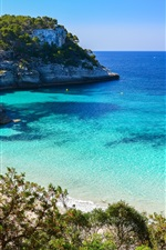 Preview iPhone wallpaper Cala Mitjaneta, Menorca island, Spain, blue sea, coast, trees