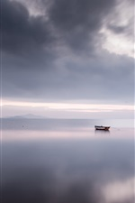Preview iPhone wallpaper Calm sea, boat, clouds