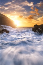 Preview iPhone wallpaper Celtic Sea, water stream, coast, rocks, sunset