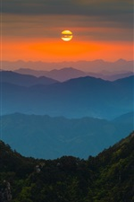 Preview iPhone wallpaper China Anhui Huangshan, dawn, sunrise, mountains, trees, red sky