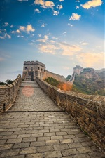 Preview iPhone wallpaper China landscape, Great Wall, clouds, sunset