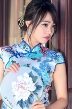 Preview iPhone wallpaper Chinese blue cheongsam girl