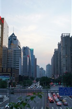 Preview iPhone wallpaper Chinese cities, Guangzhou, dusk, high-rise buildings, traffic
