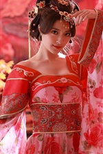 Preview iPhone wallpaper Chinese girl, red dress, Tang Dynasty costumes