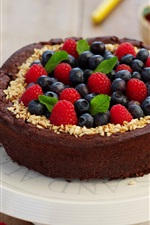 Preview iPhone wallpaper Chocolate cake, berries, food, sweet