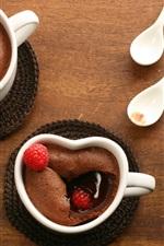 Chocolate dessert, cups, blackberries, strawberries, food, spoons