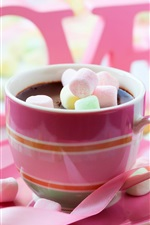 Preview iPhone wallpaper Chocolate drink, pink style, cotton candy, rose, love, Valentine's Day