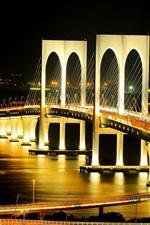 Preview iPhone wallpaper City bridge at night, illumination, lights