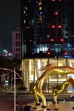 Preview iPhone wallpaper City night, Guangzhou, square, statue, lights