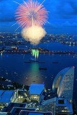 Preview iPhone wallpaper City night, fireworks, houses, lights, bay, Yokohama, Japan