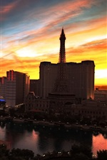 City night view, Las Vegas, casino, buildings, lights, sunset, red sky